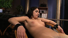 She gets her ass whacked, strapped to a chair and nipples clipped