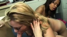 A pair of office sluts team up to clean their boss' big cock