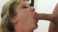 Luscious mature blonde gets picked up on the street and fucked hard by two guys