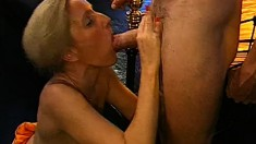 Trashy blondes relish the pleasures of rough sex and the taste of cum