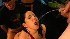 Nasty girls get together and explore their lust for sex, cum and piss