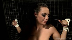 This lesbian mistress just loves to tease her slave's huge tits