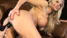 Smoking hot blonde MILF gets loved by her younger girlfriend's toys