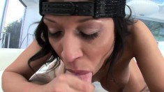 Wild brunette with a fantastic ass Rachel Starr can't resist a big rod