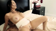 Stacked brunette milf embarks on a wild experience with a young stud