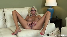 Puma loves how a dildo in her peach and a vibrator on her clit make her body feel