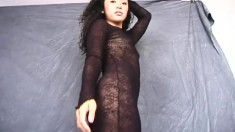 Sexy Japanese gal Shiho wears her sheer dress to show her ass and crack