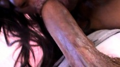 Stacked chocolate hottie has a hairy peach longing for a black shaft