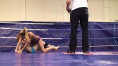 Joanna Sweet and Judy Smile go to the mat for some pussy after wrestling