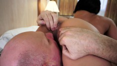 Teddy's juicy peach gets the pounding it deserves by a dirty old guy