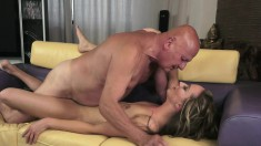 Beautiful blonde has a dirty old man filling her pussy with his cock