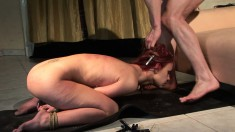 Submissive redhead gets her peach drilled rough and filled with jizz