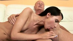Petite schoolgirl with a perky ass fulfills a fantasy with an old dude