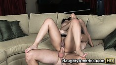 Abella sticks that rod in her twat riding it until a wave of pleasure floods her body