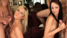 Courtney and Chloe double team blow them and get messy facials