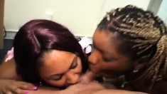 Two naughty ebony whores making a big white dick burst with pleasure