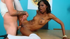 Tight-bodied ebony skank bends over to let in a massive white wang