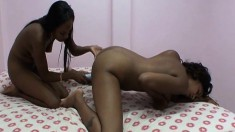 Kendra and her ebony lover finger and toy their wet cunny hole