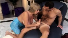 Fascinating blonde cougar with massive tits loves to ride a hard dick