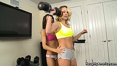 Glorious lesbian Celeste Star exercises with her half-naked playmate