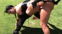 Leather fetish Gabriella is outside getting screwed and sucking him off