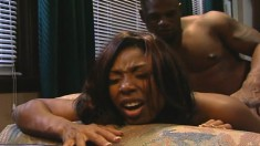 Sultry ebony girl is in need of a huge black stick plowing her snatch