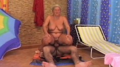 Slutty Mature Lady Licks A Young Man's Butt And Fucks His Hard Prick