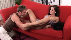 Beautiful brunette Taylor Thomas gets her twat filled with hot semen