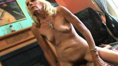Luscious blonde granny has a hung stud plowing her tight hairy snatch