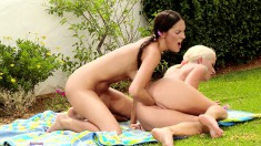 Naughty picnickers seize the chance to indulge in torrid lesbian sex