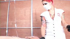Sexy redheaded nurse gives this horny patient a needle in his dick