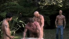 Horny gay friends indulge in intense sucking and anal pounding outside