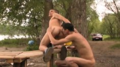 Two handsome boys indulging in passionate anal action in the outdoors