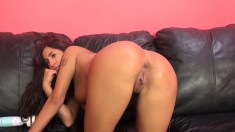 Voluptuous beauty Stacy knows how to work her wet peach on a big cock