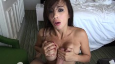 Oriental slut with big round tits gets her ass stuffed with hard meat