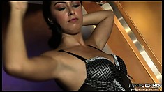Dazzling slender brunette in sexy lingerie wraps her lips all over two big cocks