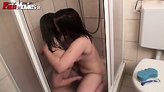 Austrian lesbians playing in the bathroom, taking a dirty shower