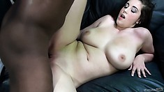 Noelle is in an interracial fuck with his big black pounding her twat