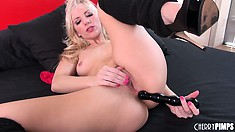 Wild blonde with lovely tits Ashley Fires drills her holes with her fingers and a dildo