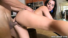 Sienna West is fucking this dude's hard cock until he cums on her face and tits