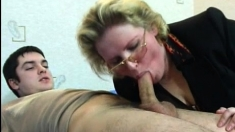 Mature Blonde Slut Gives Blowjob And Is Fucked Doggystyle