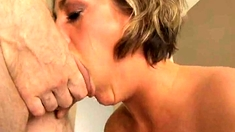 Amateur Blonde Gives A Handjob POV