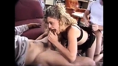Blonde Threesome taking 2 large black cocks