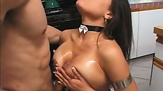 Striking Brunette In Fishnet Stockings Pleases A Cock With Her Lips And Big Tits