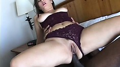 Amazing busty hoochie can't stop riding that huge brown boner