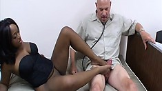 Striking black babe with a divine booty Jenny Jones reveals her awesome footjob skills