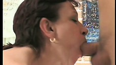 Mature spouse pets her old coochie with pink dildo and fucks young guy