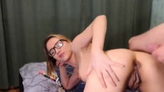 Nerdy Babe Gets Honeycomb Drilled From Behind