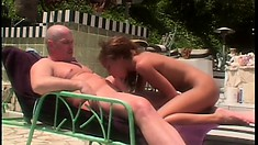 Fine brunette babe moans like crazy while riding a dick outdoors