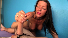 Handjob and hot sex massage with horny brunette lady